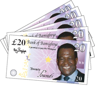 Five crisp £20 notes from the Bank of Bamigboye